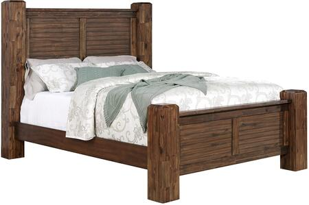 Sutter Creek Collection 204531KW California King Size Poster Bed with Sturdy Stout Posts  Horizontal Line Detailing  Wire Brushed Surface  Select Wood and