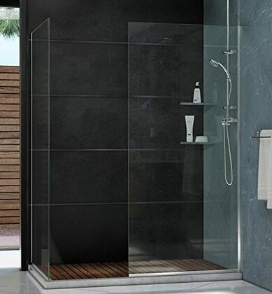 SHDR-3234342-01 Linea Frameless Shower Door. Two Glass Panels: 34 in. x 72 in. Chrome