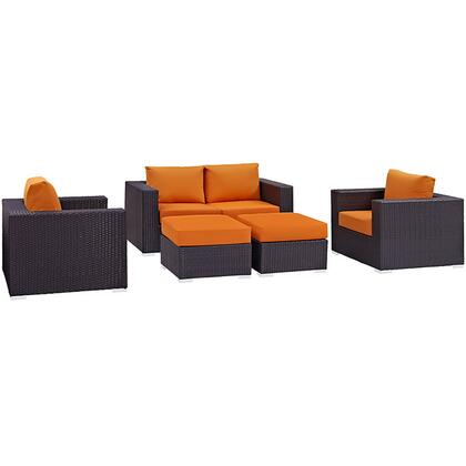 Convene Collection EEI-2158-EXP-ORA-SET 5-Piece Outdoor Patio Sofa Set with Loveseat  2 Armchairs and 2 Ottomans in