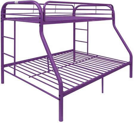 Tritan Collection 02053PU Twin Over Full Size Bunk Bed with 2 Built-In Ladders  Metal Tube Construction and Full Length Guard Rails in