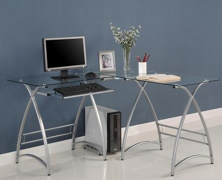 D51AL30 Alexa L-Shaped Computer Desk with Glass Surface  Keyboard Drawer  and Metal Construction in