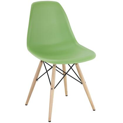 Pyramid Collection EEI-180-LGN Side Chair with Non-Marking Feet  Solid Beech Wood Tapered Legs  Acrylonitrile Butadiene Styrene (ABS) Plastic Seat and Backrest