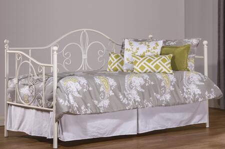 1687DBLHTR Ruby Twin Size Daybed with Trundle Included  Suspension Deck  Wood and Tubular Steel Construction in Textured White