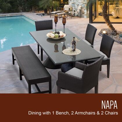 NAPA-RECTANGLE-KIT-2ADC2DC1DBC-GREY Napa Rectangular Outdoor Patio Dining Table With 4 Chairs and 1 Bench with 2 Covers: Wheat and