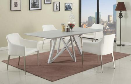 KATIE-5PC-WHT KATIE DINING 5 Piece Set - Wood Painted Grey Glass Dining Table Top and 4 White Accent Side