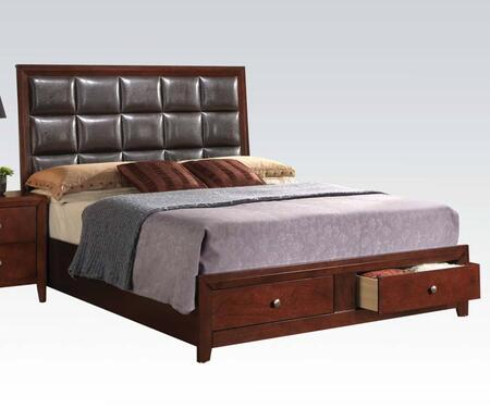 Ilana Collection 24587EK King Size Bed with 2 Storage Drawers  Metal Hardware  Bycast PU Leather Headboard and Wood Construction in Brown Cherry