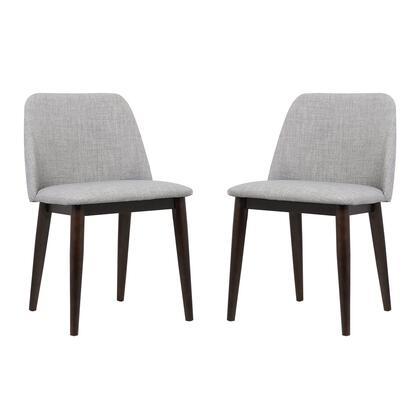 Horizon Collection LCHOCHGRAY Contemporary Dining Chair in Light Gray Fabric with Brown Wood Legs - Set of