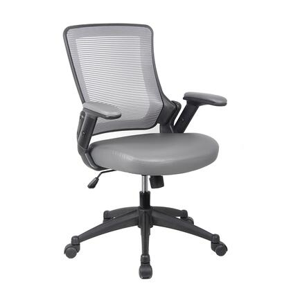 RTA-8030-GRY Mid-Back Mesh Task Office Chair with Height Adjustable Arms. Color: