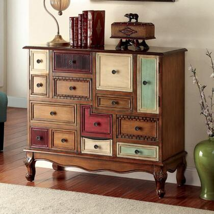 Desree CM-AC149 Accent Chest with Vintage Style  Cabinet with 9 Drawers  Multi-colored Panels  Curved Apron in Antique