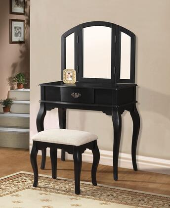 Maren 90087 32 inch  Vanity and Stool with 1 Decorative Hardware Drawer  Tapered Legs and Cushioned Stool Seat in Black