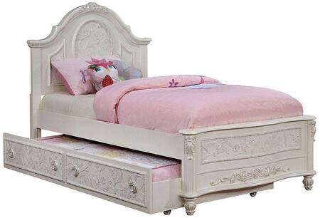 Henrietta Collection CM7193T-BED-TRUNDLE Twin Size Bed with Trundle  Floral Carved Detail  Fairy Tale Style  Carved Turned Feet  Solid Wood and Wood Veneers