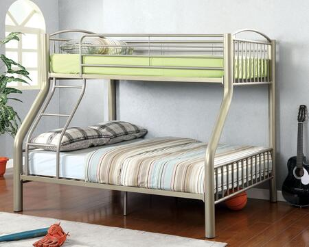 Lovia Collection CM-BK1037TF Twin/Full Size Bunk Bed with Movable Ladder  Detachable Bunk Bed  Attached Ladder and Full Metal Construction in Metallic Gold