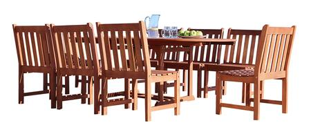 V144SET40 Malibu Outdoor 9-Piece Wood Patio Dining Set With Extension Table & Armless