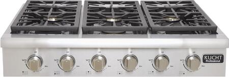 KRT3618ULP 36 inch  Professional Series Gas Range-Top with 6 Sealed Burners  Black Porcelain Top  Heavy Duty Cast-Iron Grates and High Quality Control Knobs  in