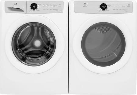 White Front Load Laundry Pair with EFLW317TIW 27 inch  Washer and EFDG317TIW 27 inch  Gas
