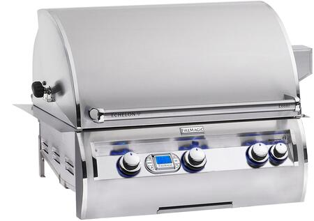 E660I-4E1N Echelon Diamond Series Built In Natural Gas Grill 660 sq. in. Cooking Area with Rotisserie Backburners and Stainless Cast E Burners: Stainless