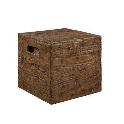 Warner Collection D1077A17A 18 inch  Crate Stool/Table with Distressed Finish and Cut-Out Side Handles in