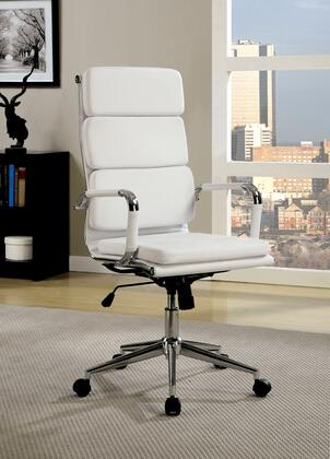 Mercedes CM-FC636L-WH Office Chair with Contemporary Style  Pneumatic Ht. Adjustable Seat  Padded Leatherette Chair  Chrome Base in