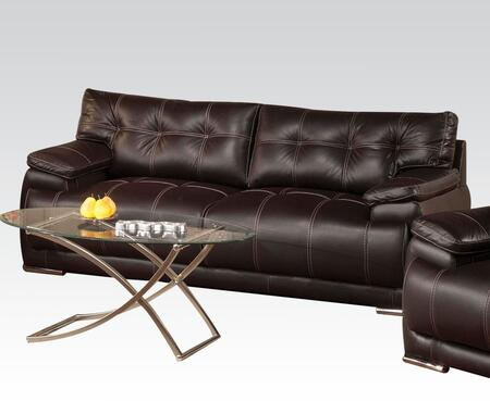 Terrence Collection 51740 75 inch  Sofa with Wood Frame  Chrome Legs  Tufted Cushions  Padded Arms and Bycast PU Leather Upholstery in Espresso