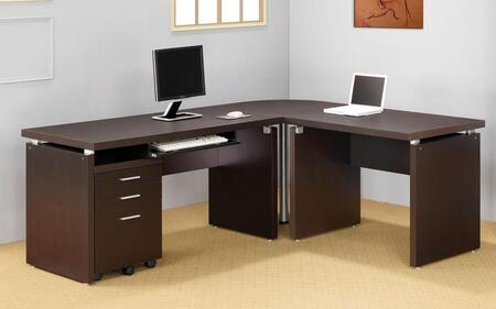 Skylar 800891SETA 4 PC Desk Set with Computer Desk + Extension Desk + Corner Table + Mobile File Cabinet in Cappuccino