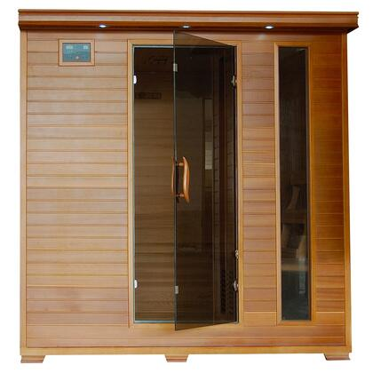 Great Bear SA1323 6 Person Cedar Corner Infrared Sauna with 10 Carbon Heaters  Bronze Tinted Tempered Glass Door  Oxygen Ionizer  EZTouch Cortrol Panel