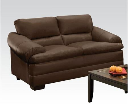 Rosalie Collection 51266 Loveseat with Pillow Top Arms  Split Back Cushions and Bonded Leather Match Upholstery in Coach Godiva