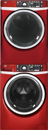 Front Load Steam GFW480SPKRR 28 Washer with GFD48GSPKRR 28 Gas Dryer and GEFLSTACK Stacking Kit Laundry Pair in