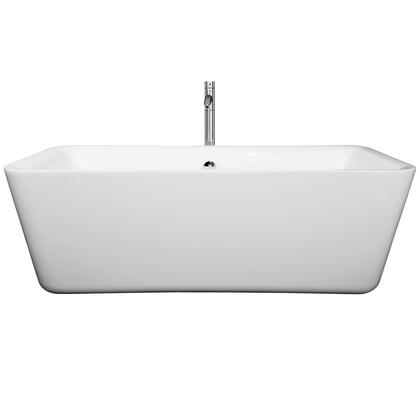 WCOBT100169ATP11BN 69 in. Center Drain Soaking Tub in White with Floor Mounted Faucet in Brushed
