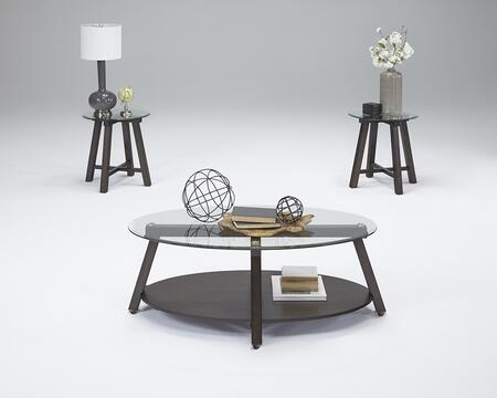 Royden T226-95 3-Piece Table Set with 1 Cocktail Table with Casters and 2 End Tables in Dark