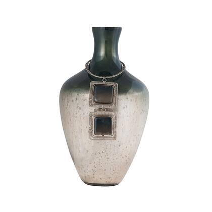 Vase Kairos Collection 8468-069 14 inch  Tall Vase with 2 Square Black Stones  Woven Silver Wire  Distressed Look and Glass Material in Slate
