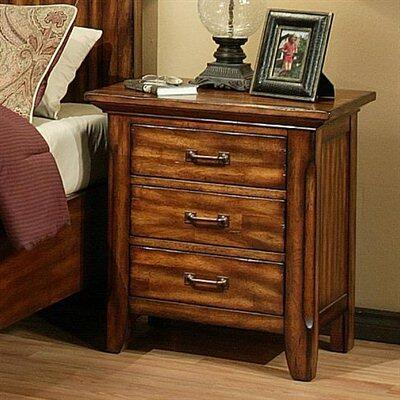 210661 Marissa County 3 Drawer Nightstand with Solid Cherry Wood Construction and English Dovetail Drawer Boxes in a Cumin Spice