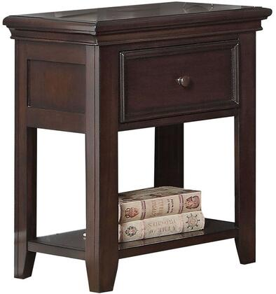 Lacey Collection 30578 22 inch  Nightstand with 1 Drawer  Bottom Shelf  Nickel Metal Knobs  Tapered Legs and Pine Wood Construction in Espresso