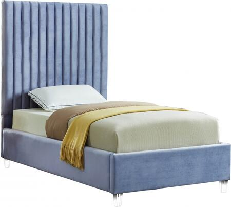 Candace Collection CandaceSkyBlu-T Twin Size Bed with Velvet Fabric Upholstery  Channel Tufted Headboard  Slats Included and Acrylic Feet in Sky