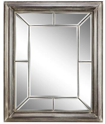 Akira Villa 13427 58 inch  Wall Mirror with Geometric Designs  Faded Finish and Paneled Inner Frame in