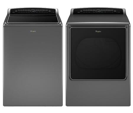 "Cabrio Chrome Shadow Top Load Laundry Pair with WTW8500DC 27.5"""" High Efficiency Washer and WGD8500DC 29"""" High-Efficiency Gas Steam"" 374497"