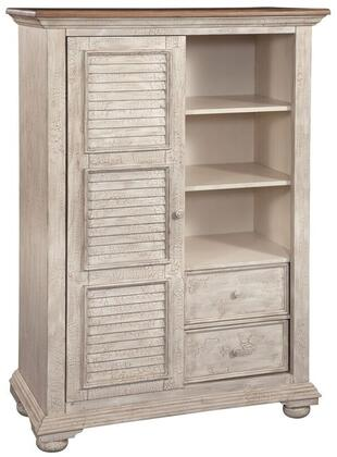 Cottage Traditions Crackled White 6540-181 Gentleman's Chest with One Sliding Door  2 Drawer and 2 Shelves in Crackled