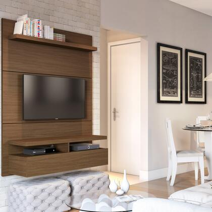 City 1.2 Collection 25051 47 inch  Floating Wall Theater Entertainment Center with 2 Flip-Open Doors  2 Media Shelves and 1 Overhead Shelf in Nut