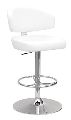 Deka Collection 96258 26 inch  - 35 inch  Adjustable Stool with Swivel Seat with Gas Lift  Bentwood Seat Frame  Chromed Steel Tube and PU Leather Upholstery in White