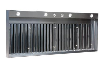 VW-07224-IN1.2 72 inch  XL Professional Wall Liner with 1200 CFM Interior Ventilator  Stainless Steel Baffle Filters  Halogen Lights  Light and Variable Speed