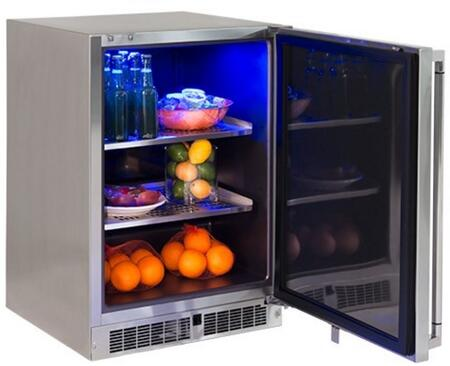 LM24REFR 24 inch  Professional Series Outdoor Refrigerator with 5.3 cu. ft. Capacity  2 Stainless Steel Shelves  Door Lock  Blue LED Lighting and Door Alarm  in