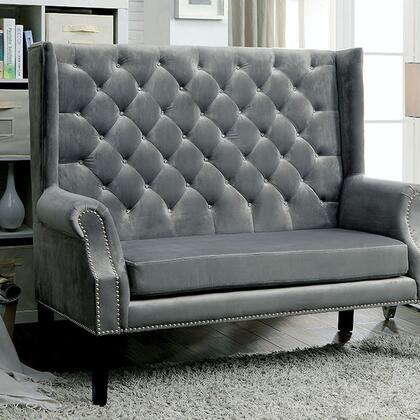 Shayla CM-BN6171GY Loveseat Bench with Contemporary Style  Wingback Design  Crystal-like Acrylic Buttons  Flannelette Fabric in