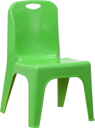 YU-YCX-011-GREEN-GG Green Plastic Stackable School Chair with Carrying Handle and 11'' Seat