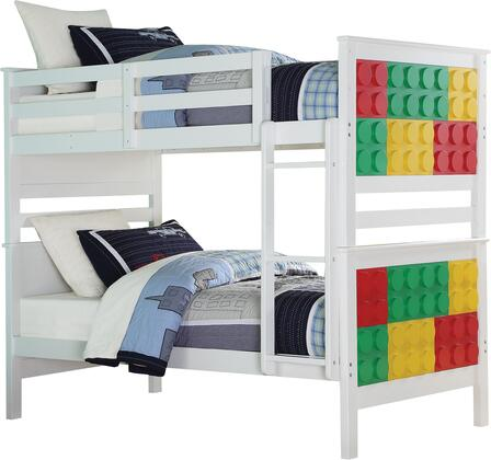Playground Collection 37780 Twin Over Twin Size Bunk Bed with Slat System Included  Reversible Front Ladder  Multi-Color Block Panels  Easy Access Guardrail