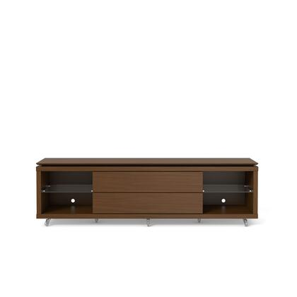 """Lincoln 1.9 Collection 17251 85"""" TV Stand with Silicone Casters  4 Shelves and 2 Telescopic Drawer Slides in Nut"""