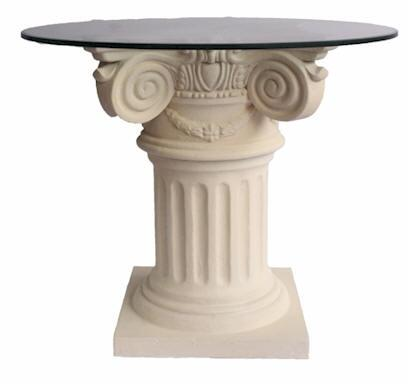 Florence Collection TB-G2229-36 36 Round Dining Table with Limestone Construction  Carved Detailing  Glass Top in Natural Beige
