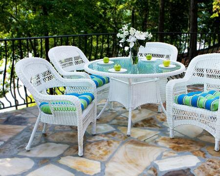 Portside PSD-WH LIPSK  5 Piece Dining Set with Round Table and 4 Chairs in White with Lipstick Fresco