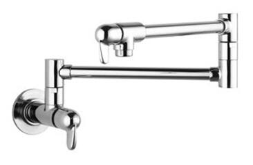 04059860  Double Handle Wall Mounted Potfiller with Metal Lever Handles from the Allegro E Series: Steel