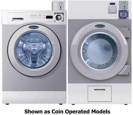 Grey Front Load Card Ready Laundry Pair with WHWF09810DC 27 inch  Washer and DAWF0EDC 28 inch  Electric