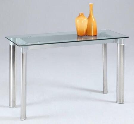 TARA-ST-CLR TARA Sofa Table with Clear Glass Top and Stainless Steel