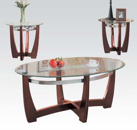 Baldwin Collection 07806 3 PC Coffee and End Table Set with Clear Tempered Glass  Beveled Edge  Polished Silver Metal Hoop Stretchers and Engineered Wood